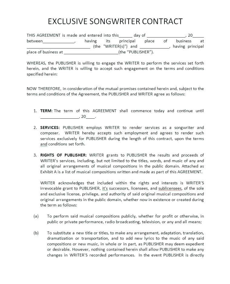Major Record Label Contract Example