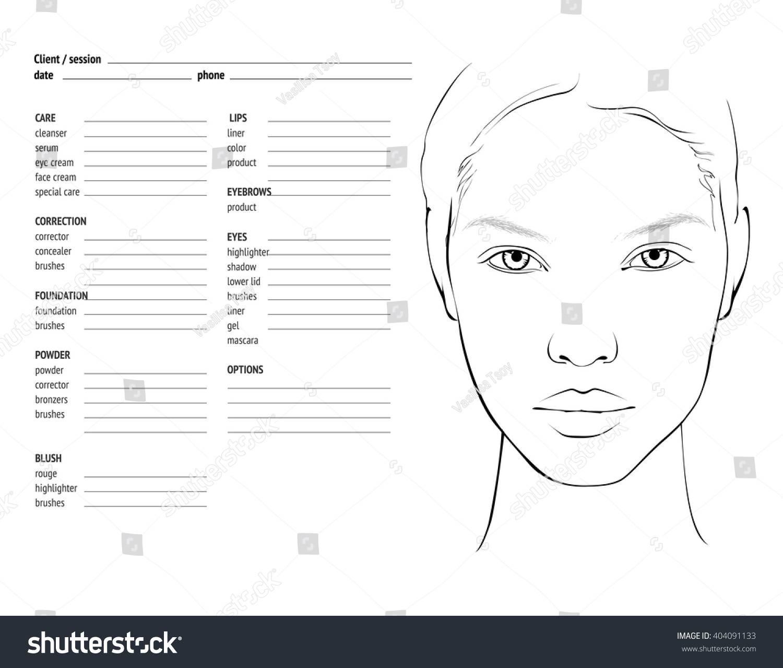 Makeup Artist Face Chart Template