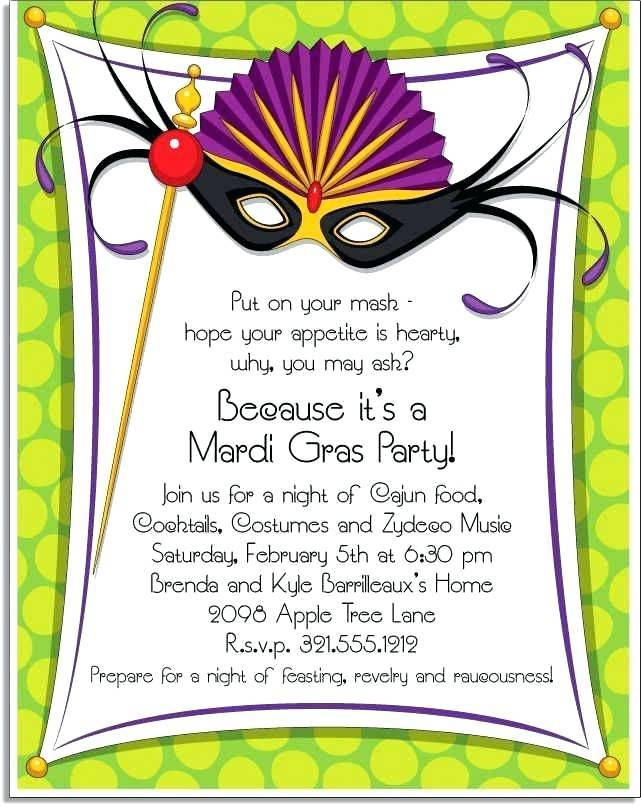 Mardi Gras Mask Invitation Template
