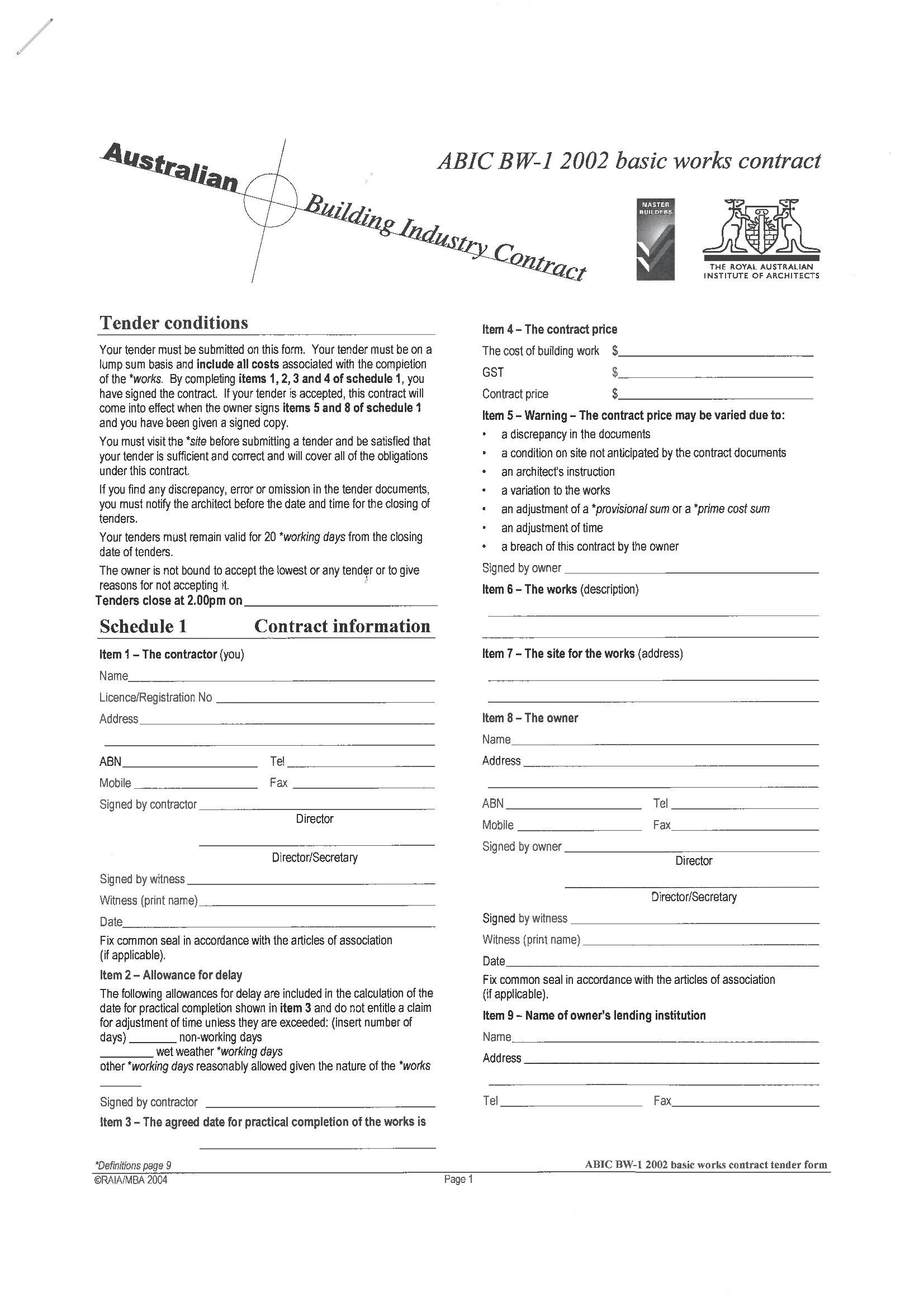 Master Builders Contract Template