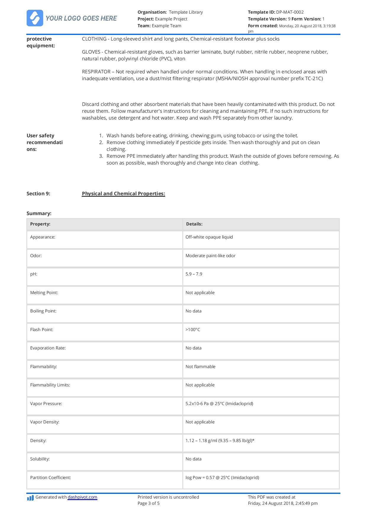 Material Safety Data Sheet (msds) Template - Templates