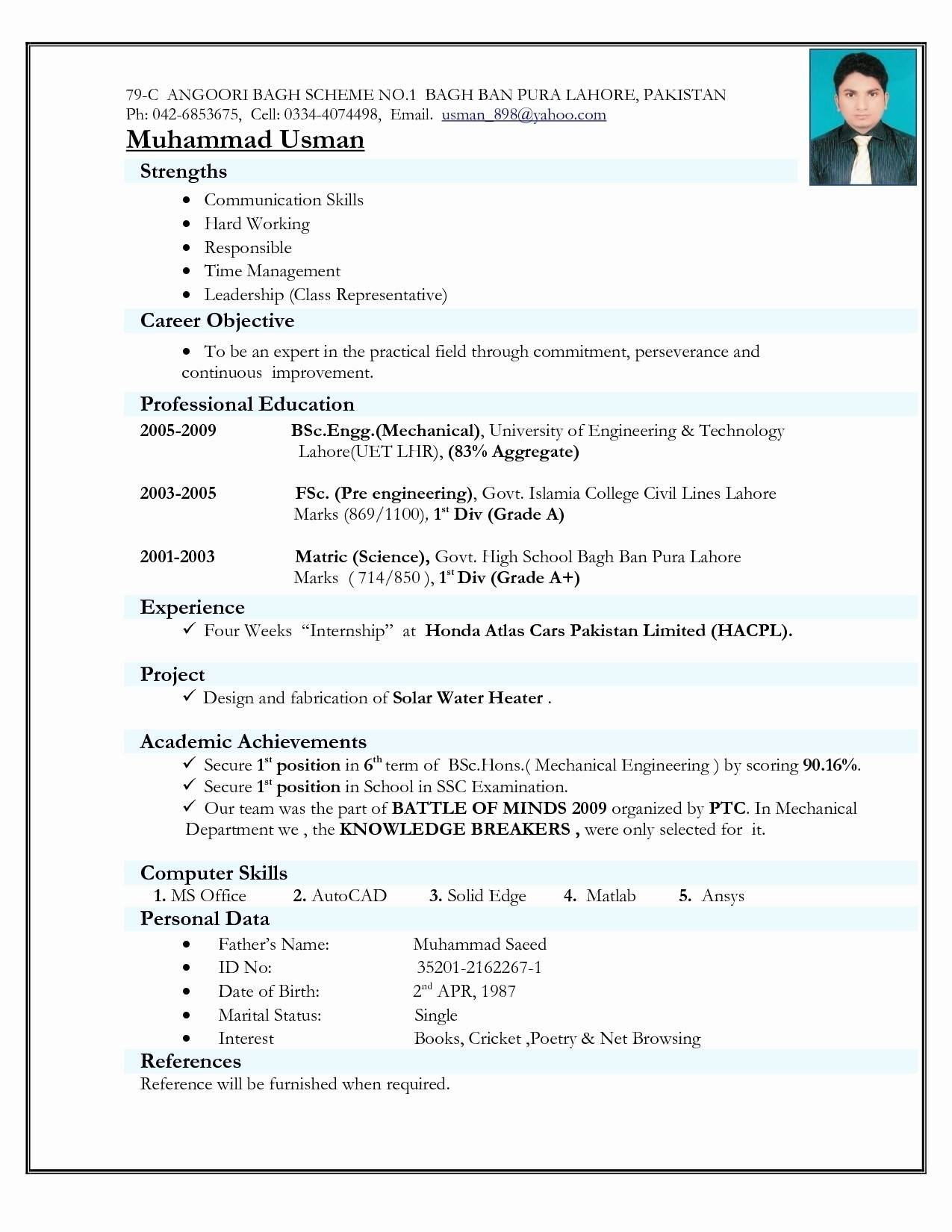 Mechanical Engineering Resume Format For Fresher