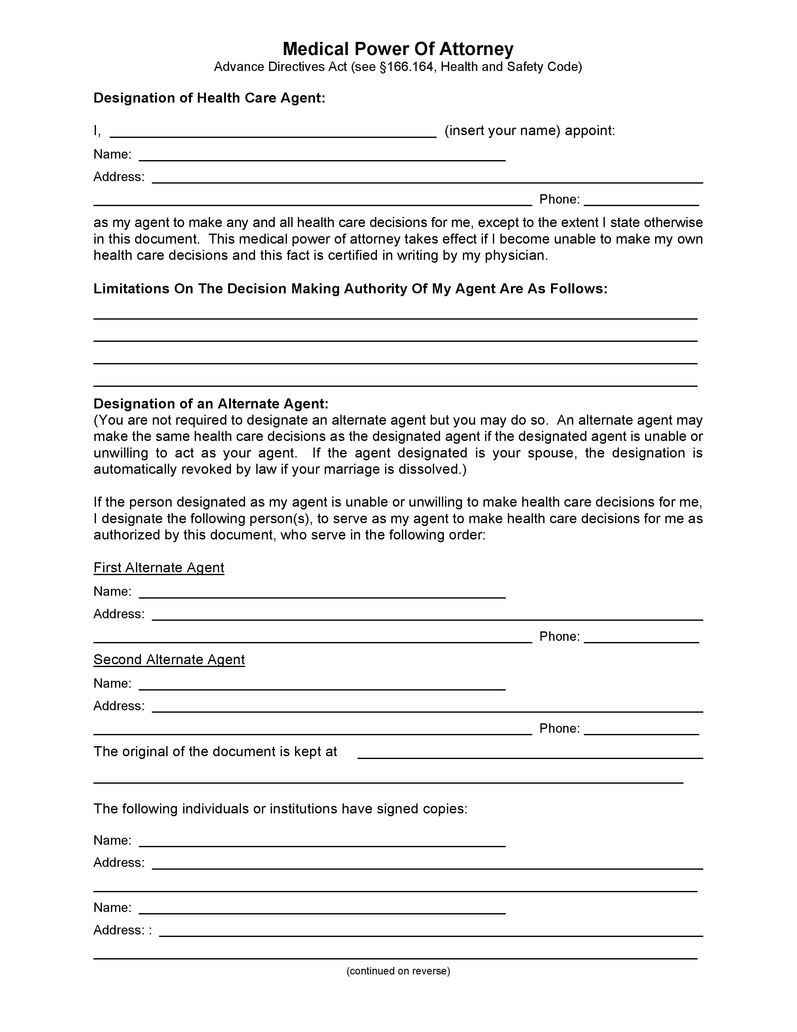 Medical Power Of Attorney Template Free