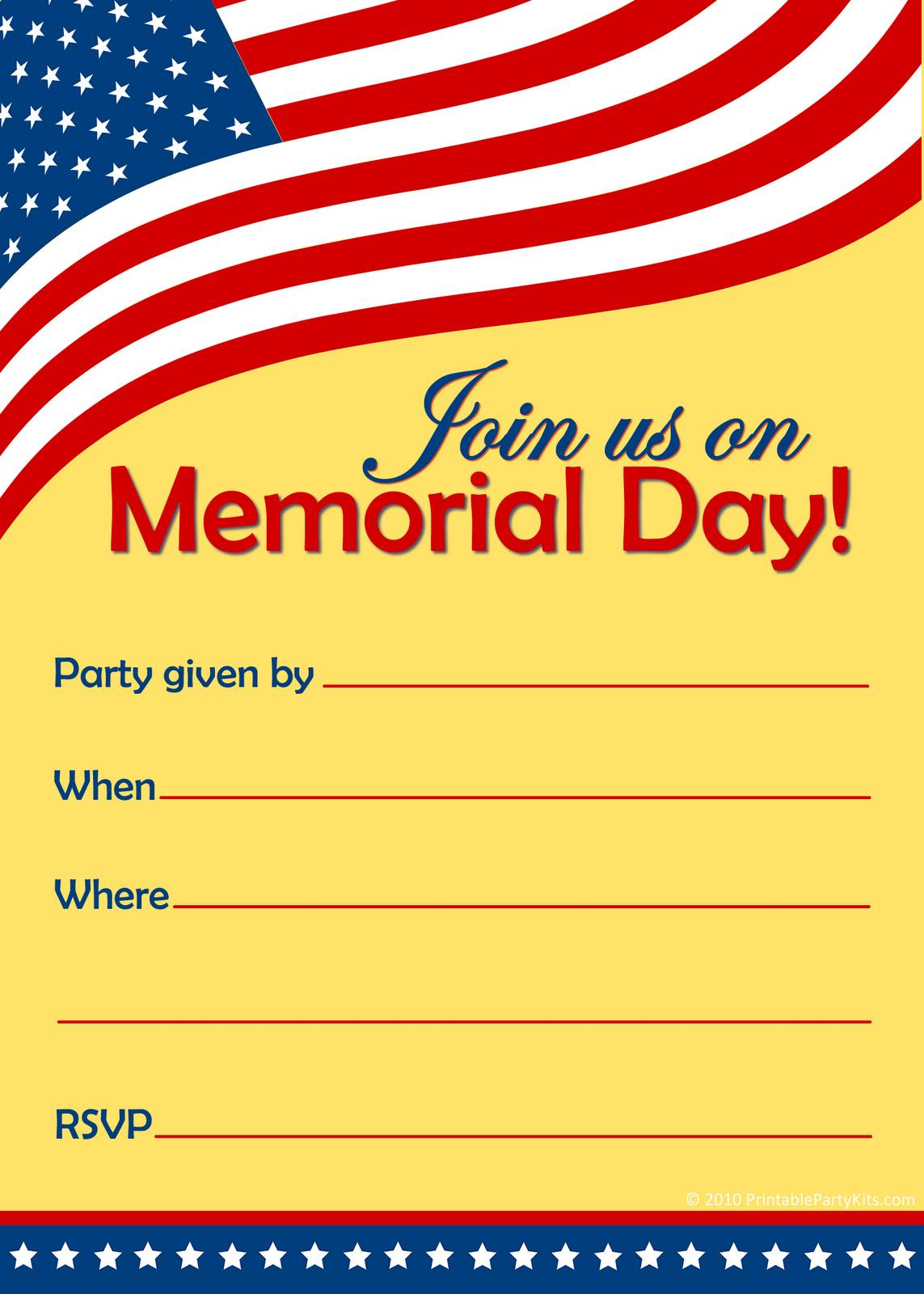 Memorial Day Party Invitation Templates