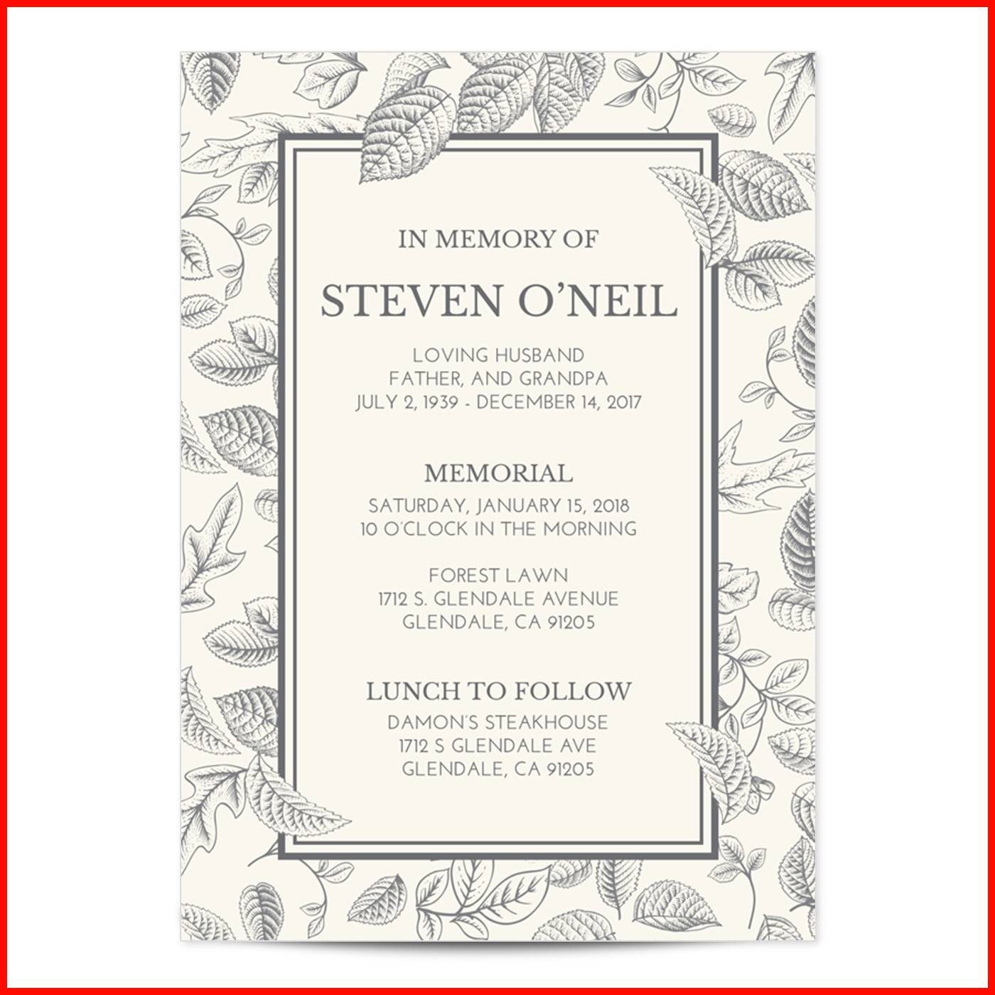 Memorial Invitation Templates