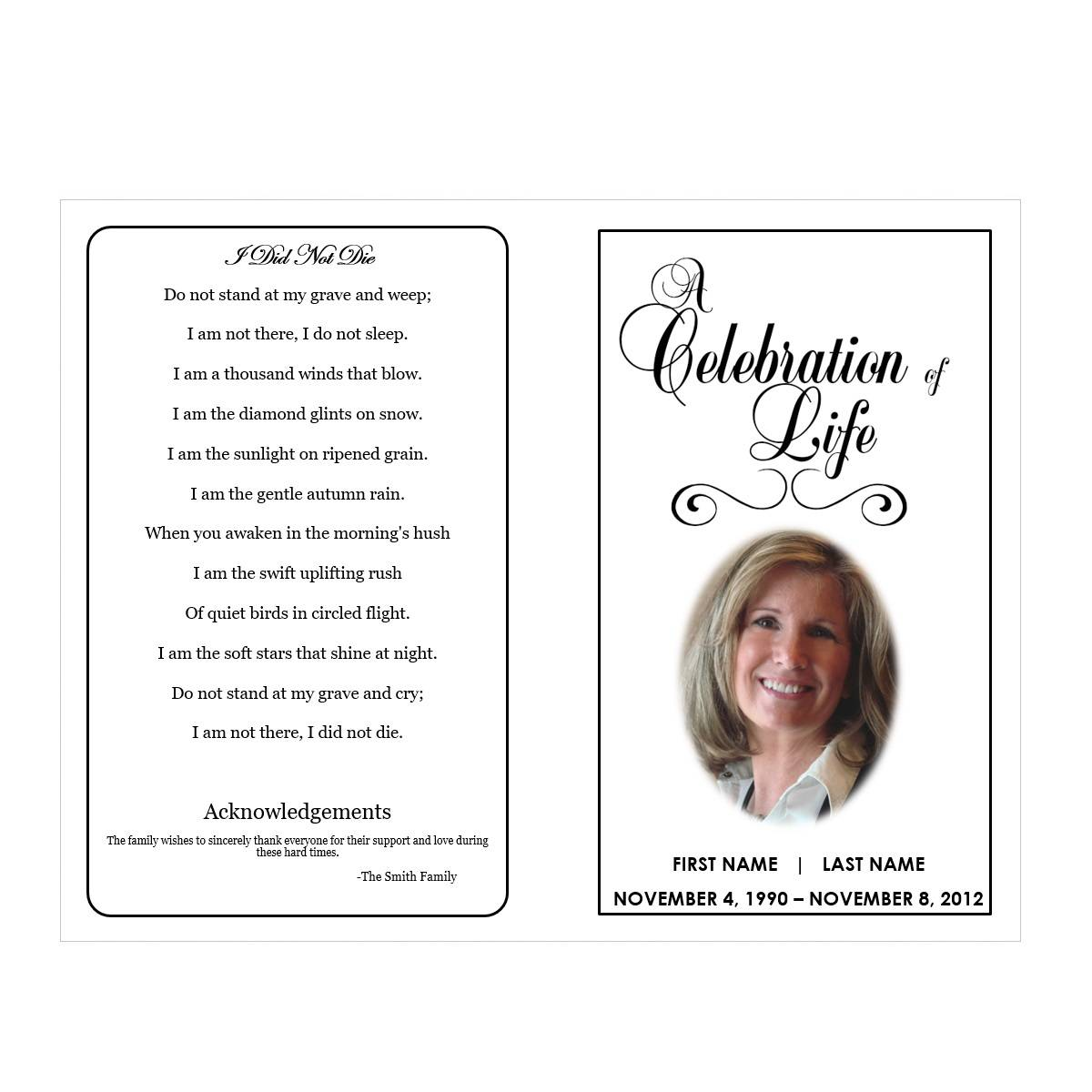 Memorial Service Flyer Template Free
