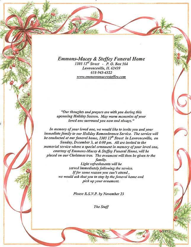 Memorial Service Invitation Samples