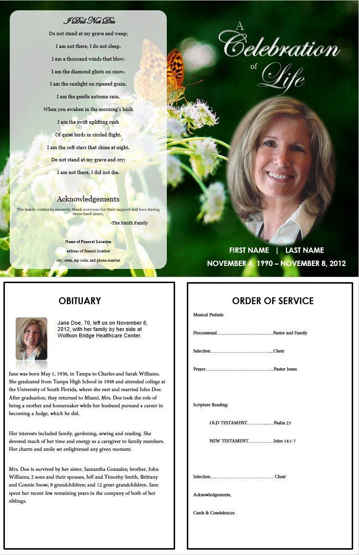 Memorial Service Template Free Word