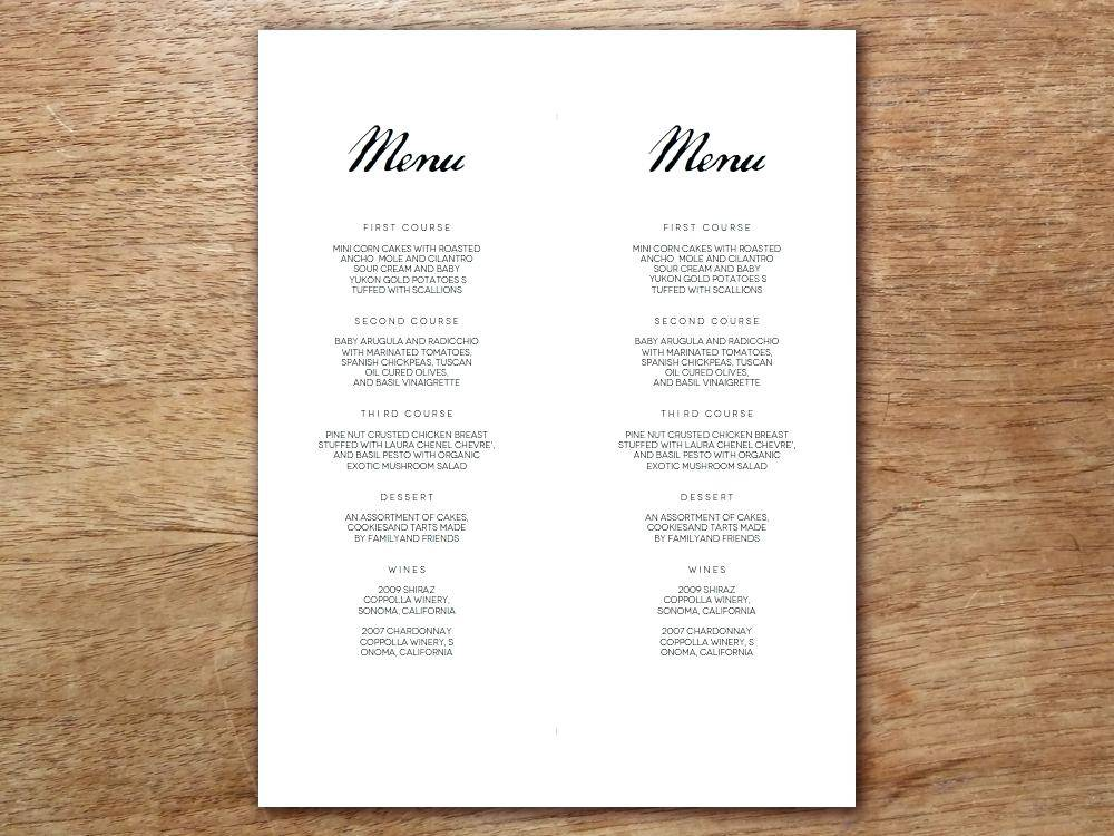 Menu Layout Templates Word