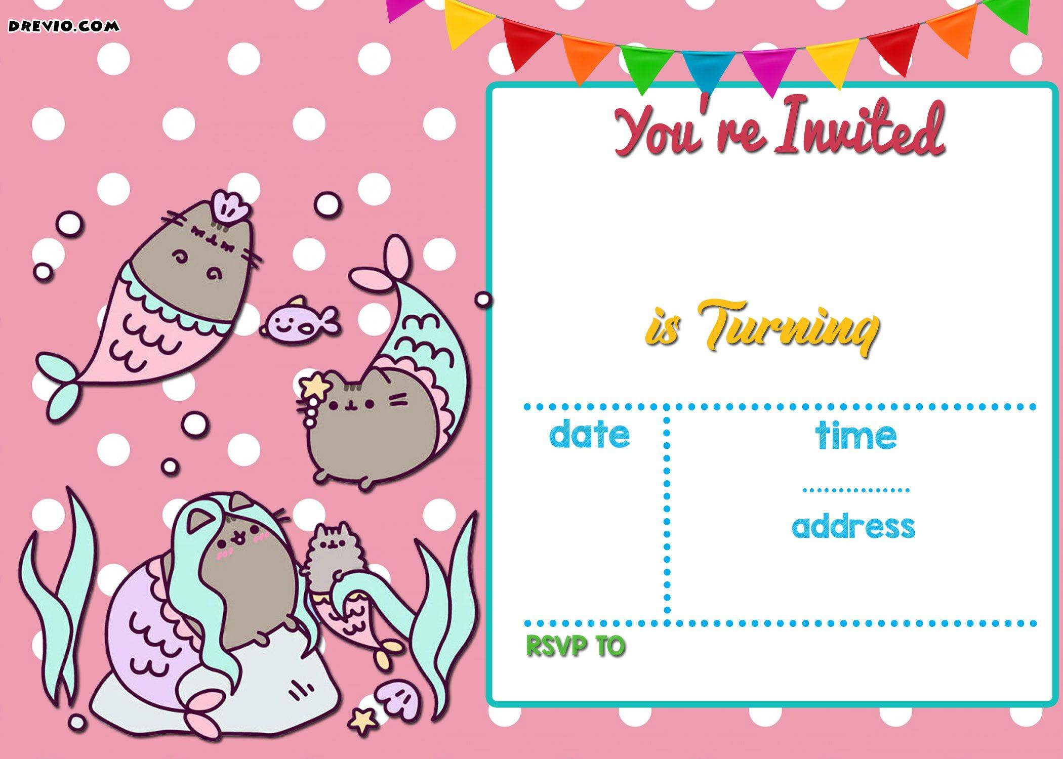 Mermaid Invitation Templates Printable