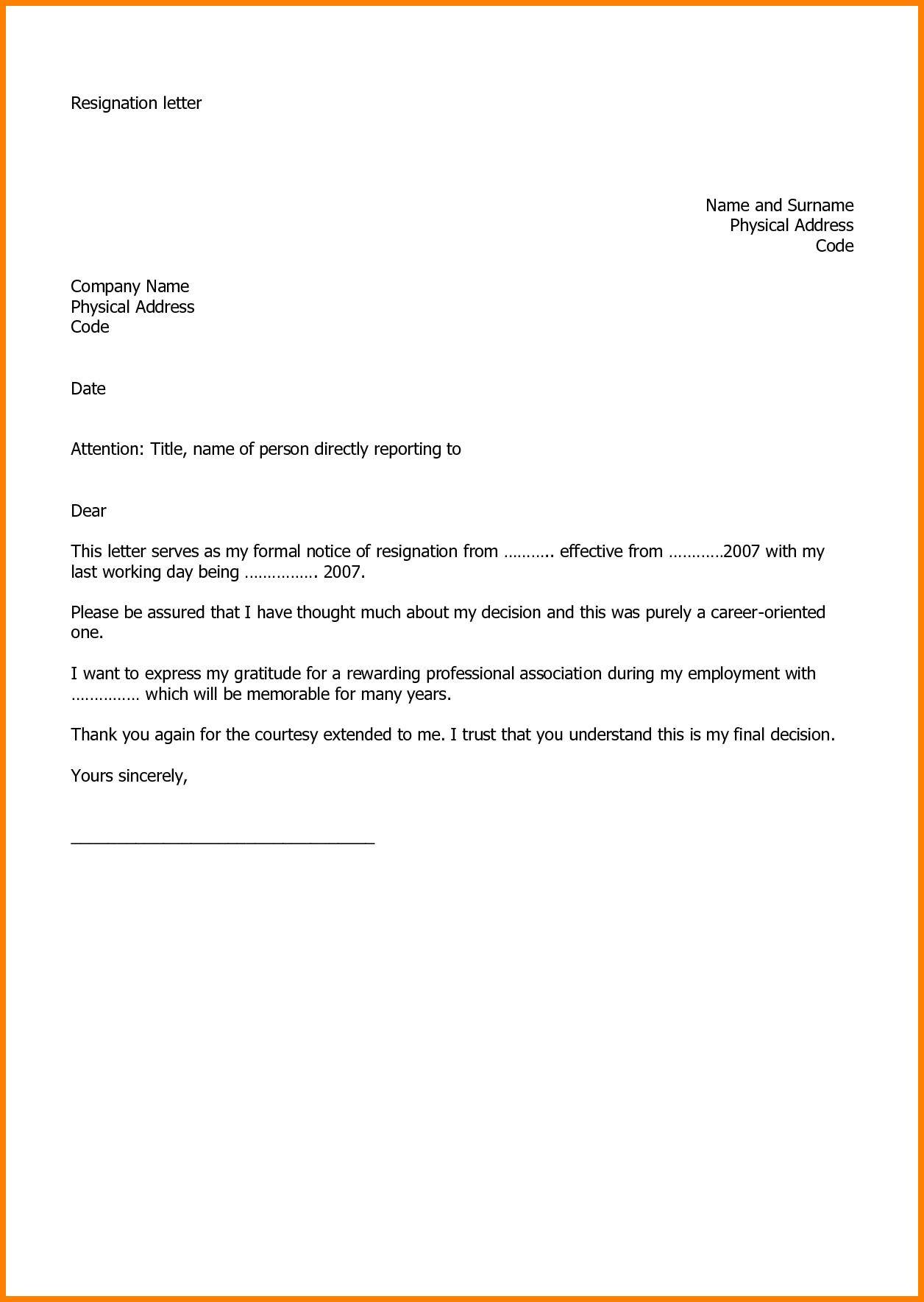 Free Resignation Letter Template Microsoft Word Download - Templates ...