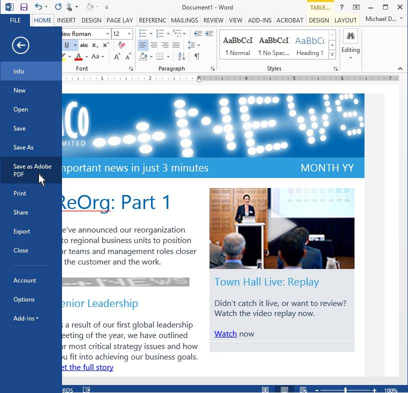 Microsoft Office Outlook Newsletter Template