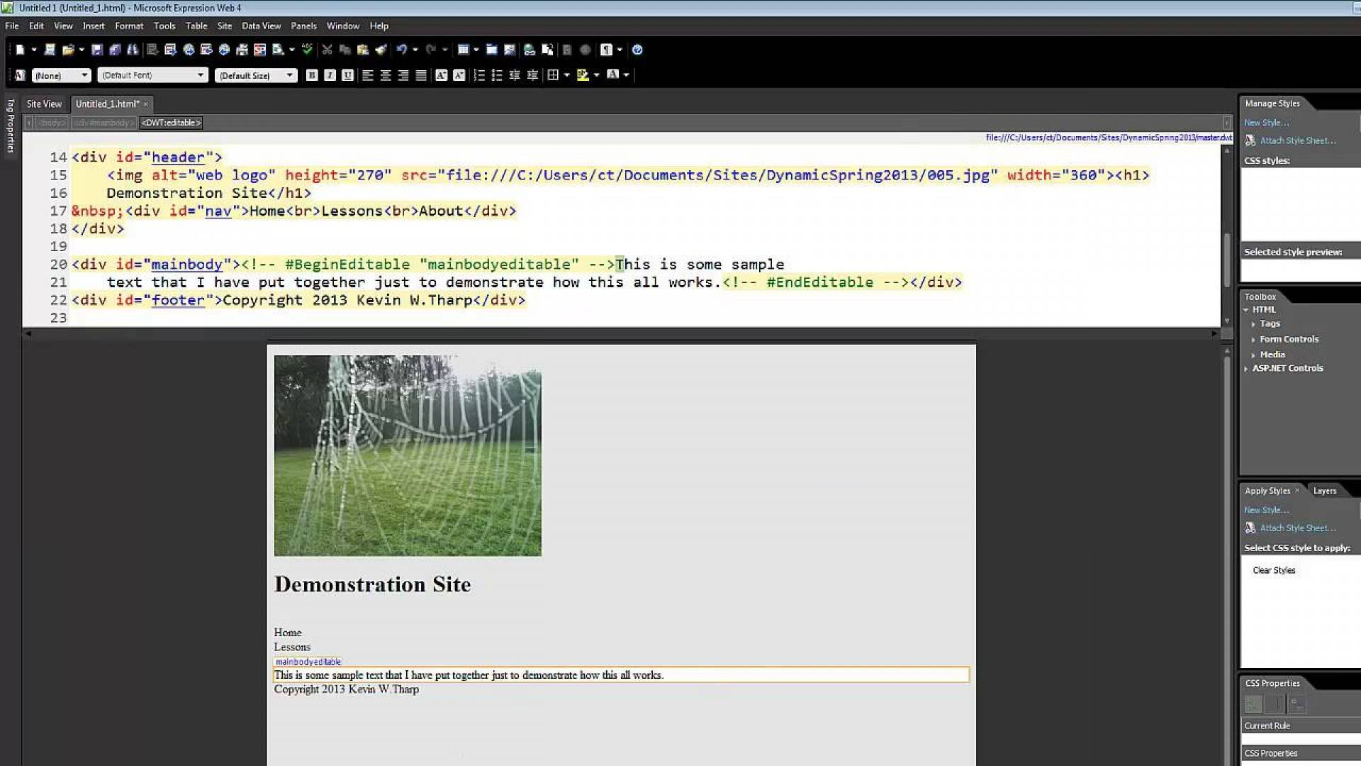Microsoft Web Expression 4 Templates