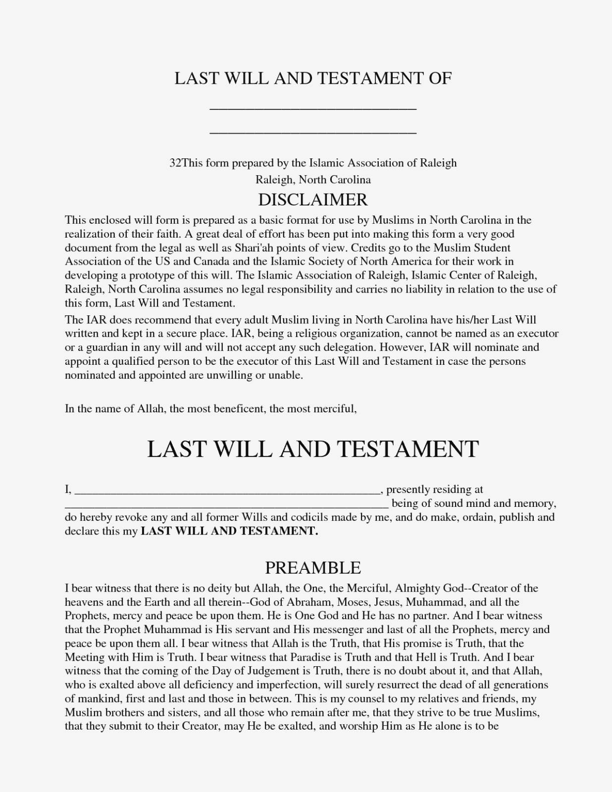Microsoft Word Templates For Wills