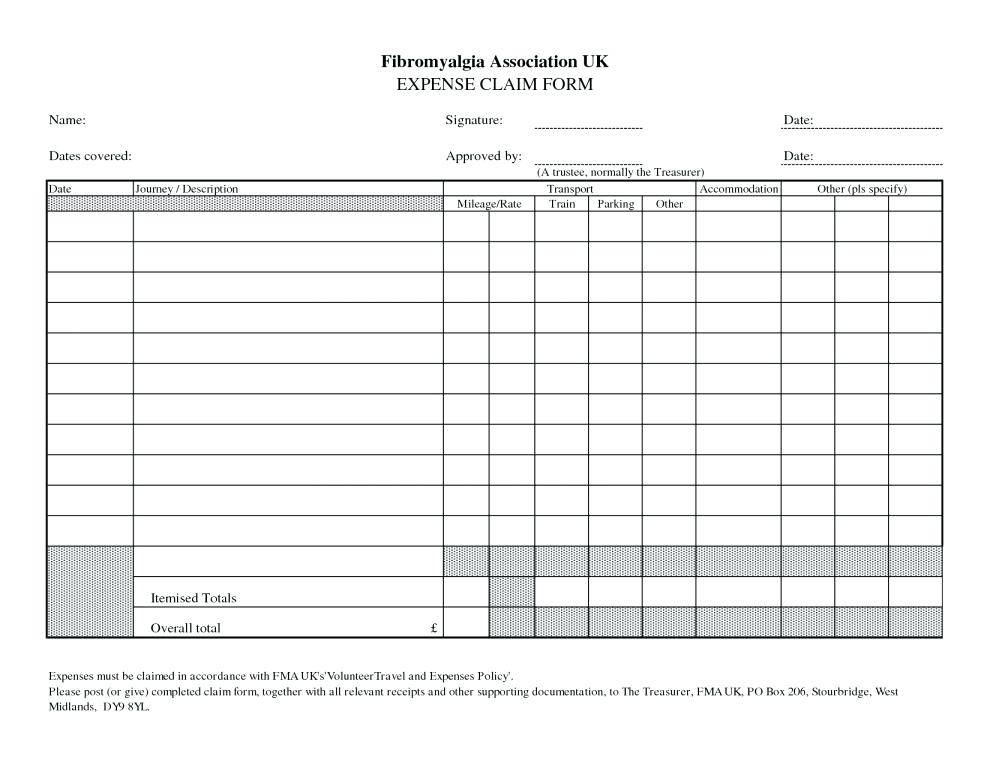 Mileage Expense Form Template Free