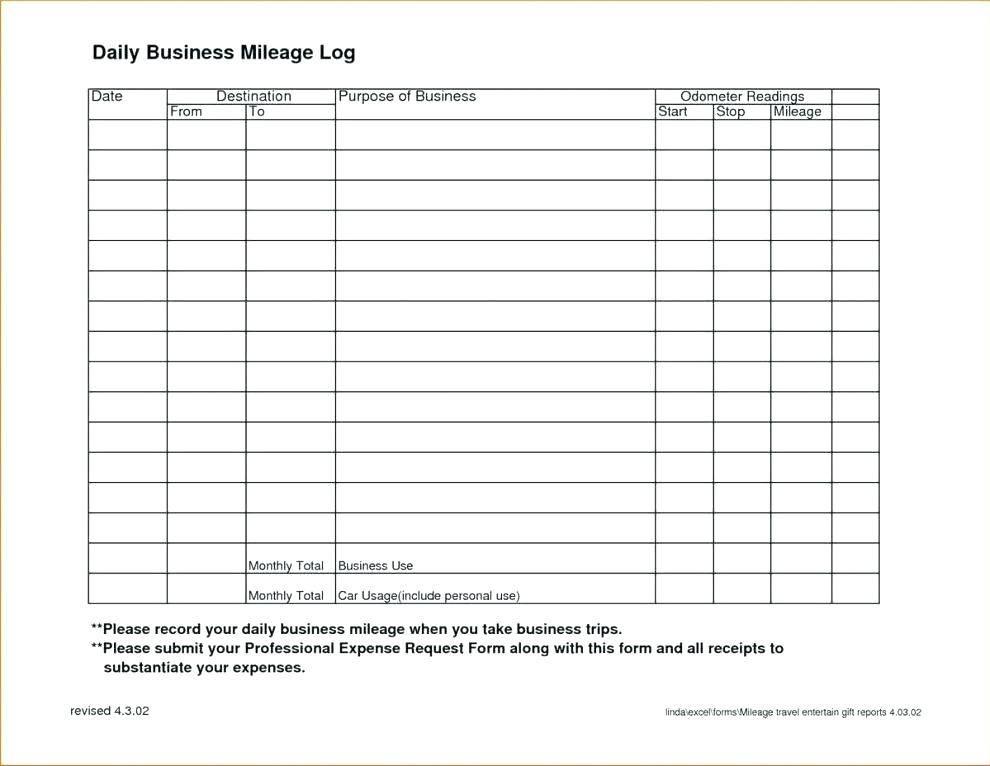 Mileage Log Book Template Excel