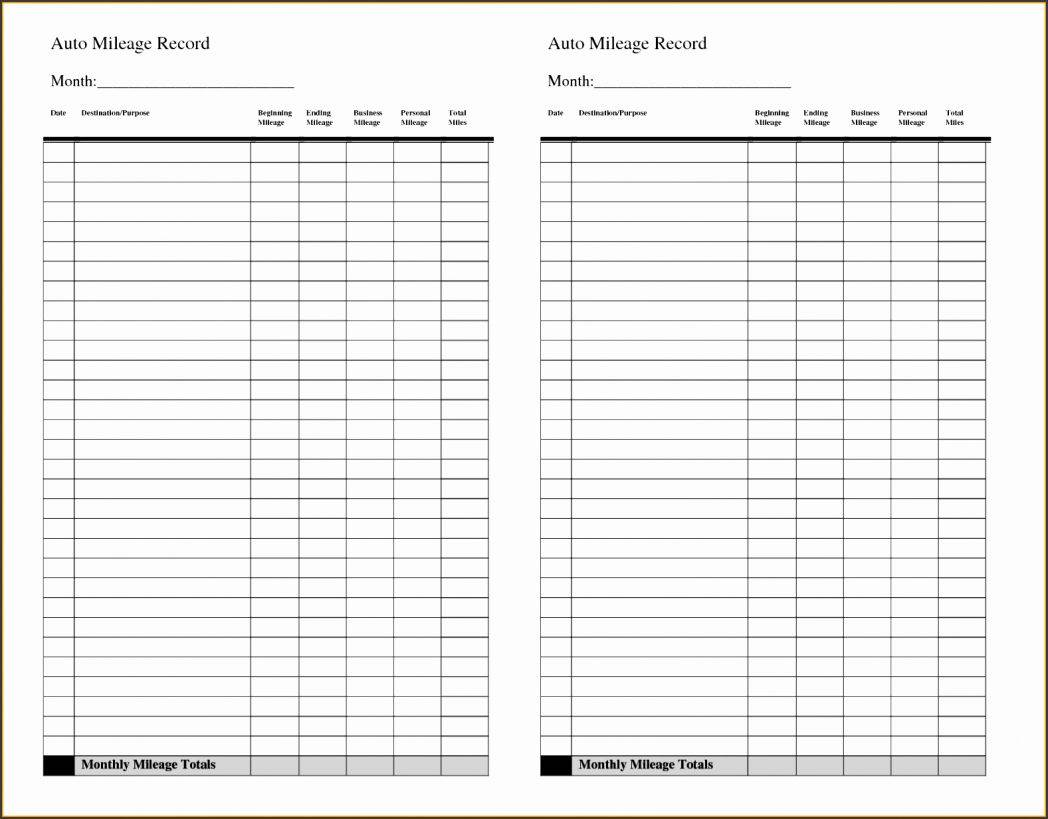 Mileage Spreadsheet Template Uk