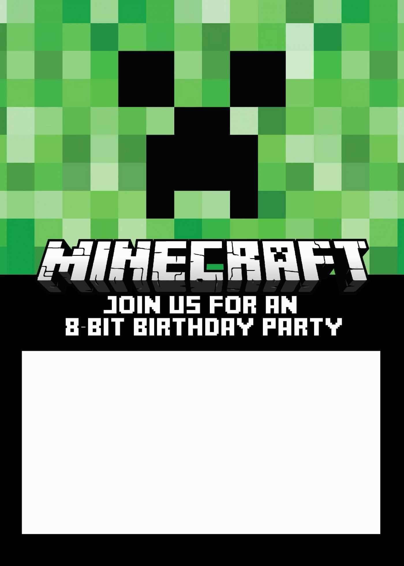 Minecraft Birthday Invitations Template Free