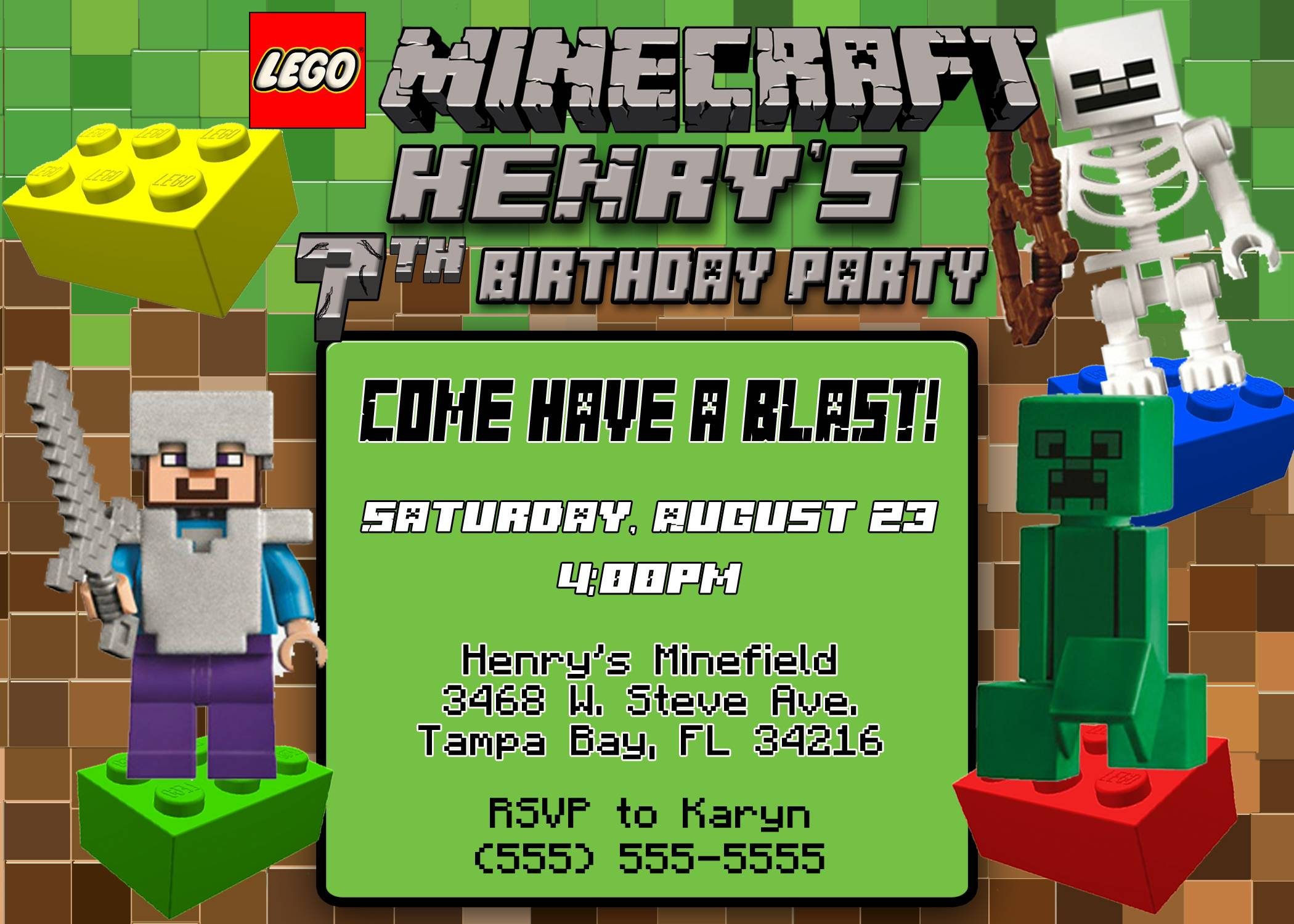 Minecraft Birthday Invitations Template
