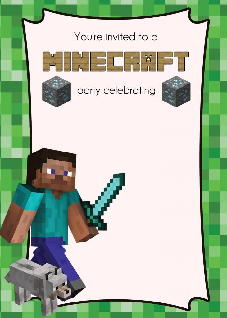 Minecraft Party Invitations Template Free