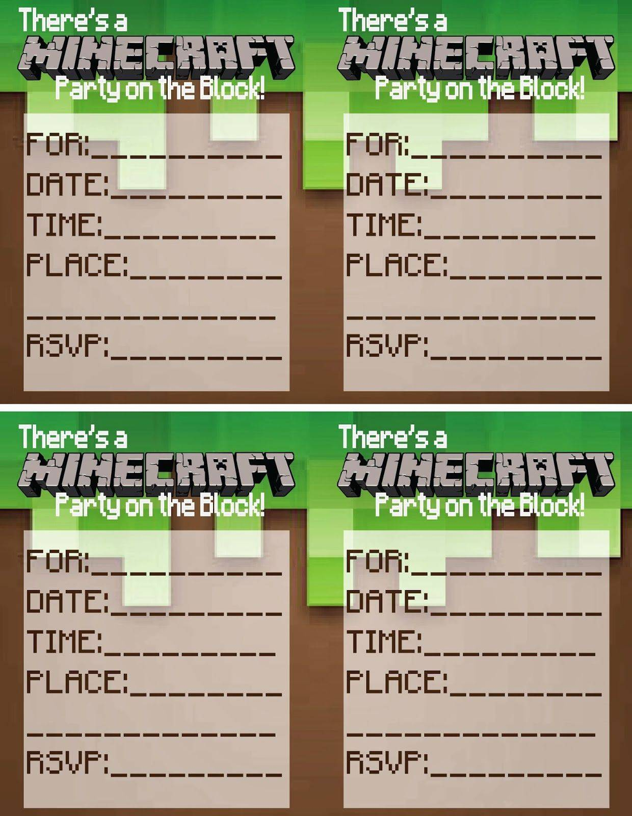 Minecraft Printables Invitations