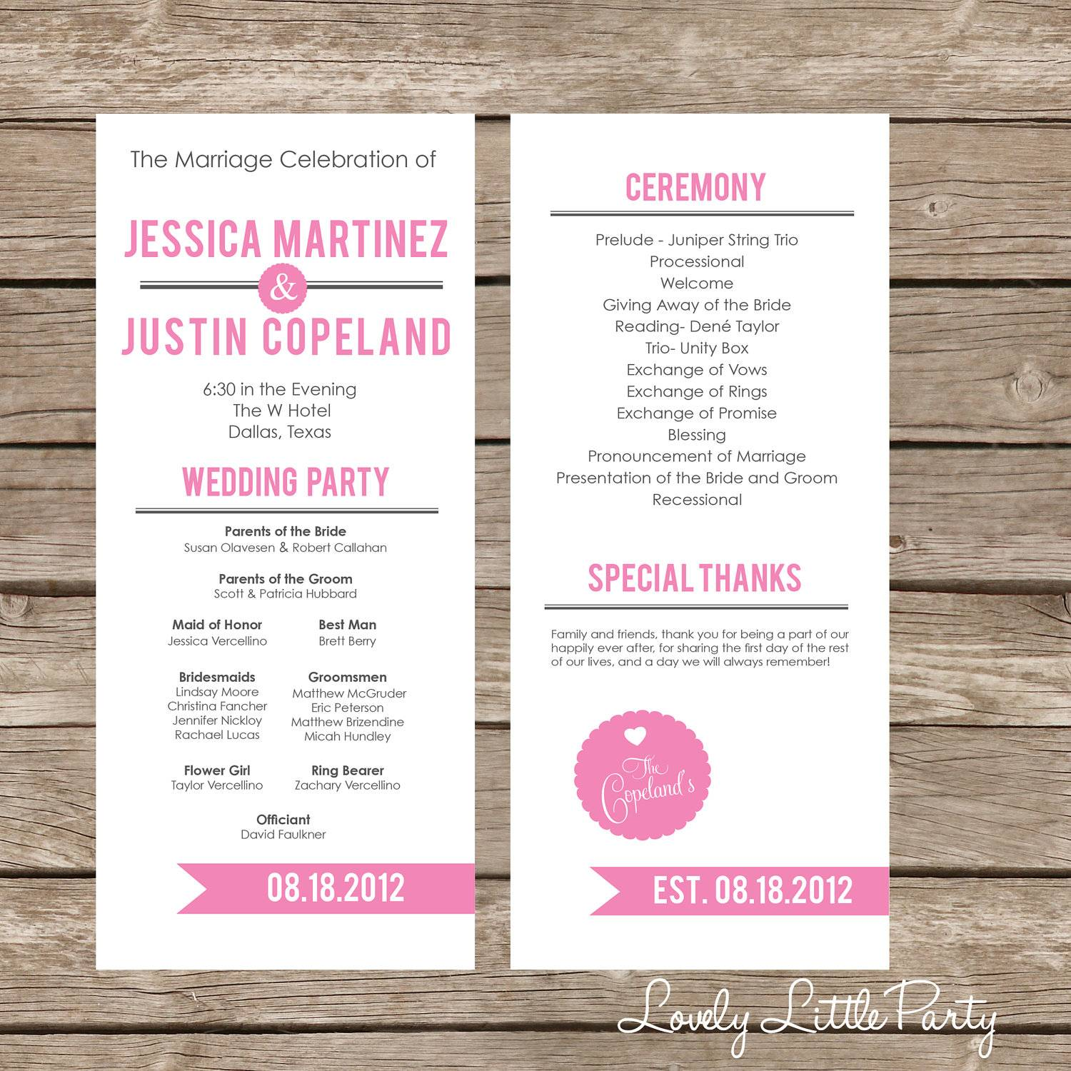 Modern Wedding Program Examples