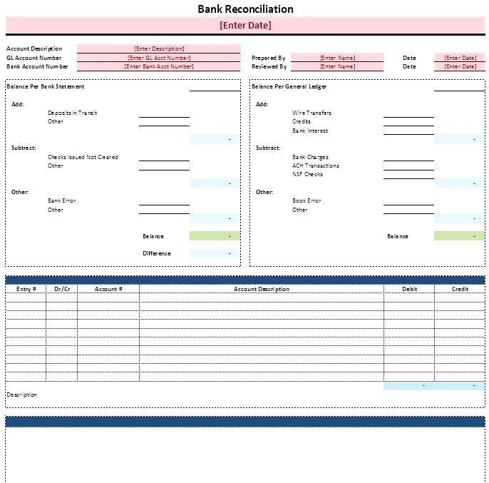 Monthly Bank Reconciliation Statement Format In Excel