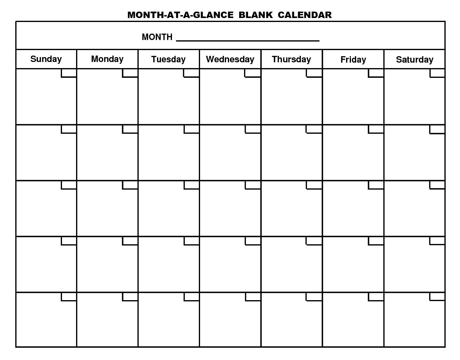Monthly Calendar Schedule Template