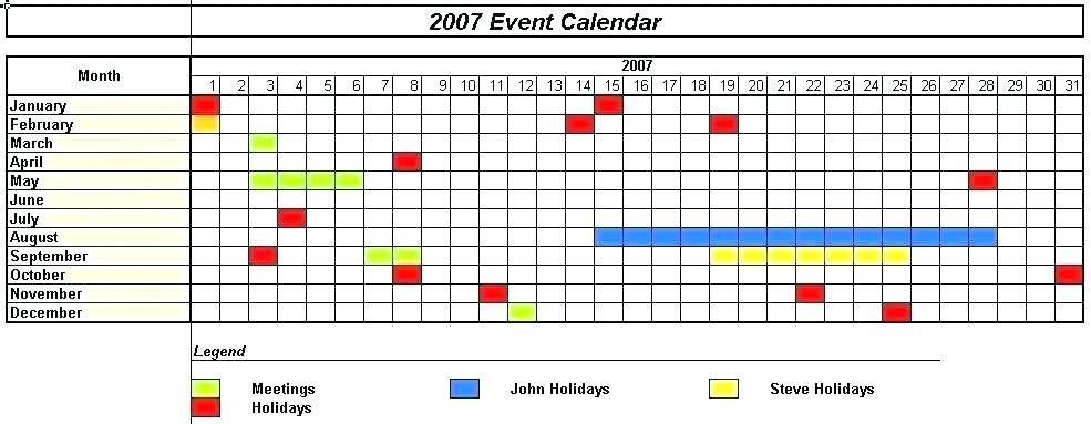 Monthly Calendar Template Excel 2007