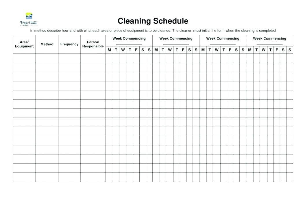 Monthly Cleaning Schedule Template Excel