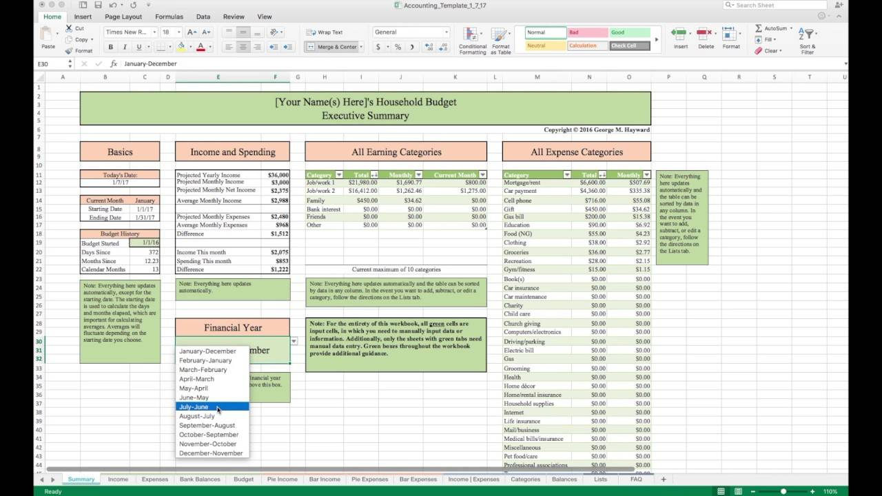 Monthly Household Budget Excel Spreadsheet Template