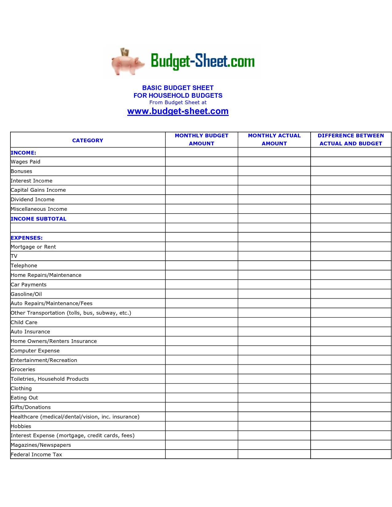 Monthly Income Spreadsheet Template