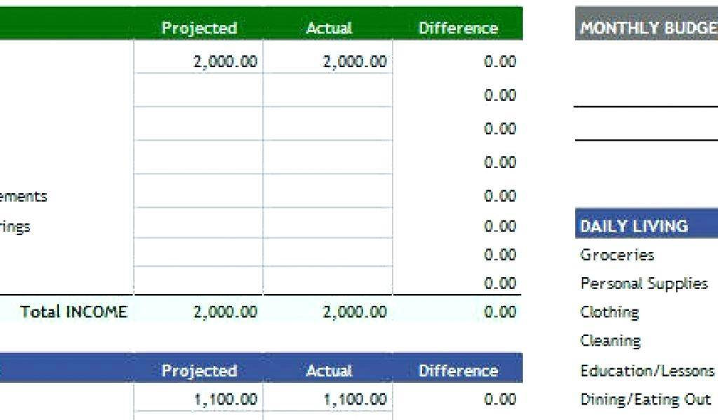 Monthly Living Expenses Excel Template