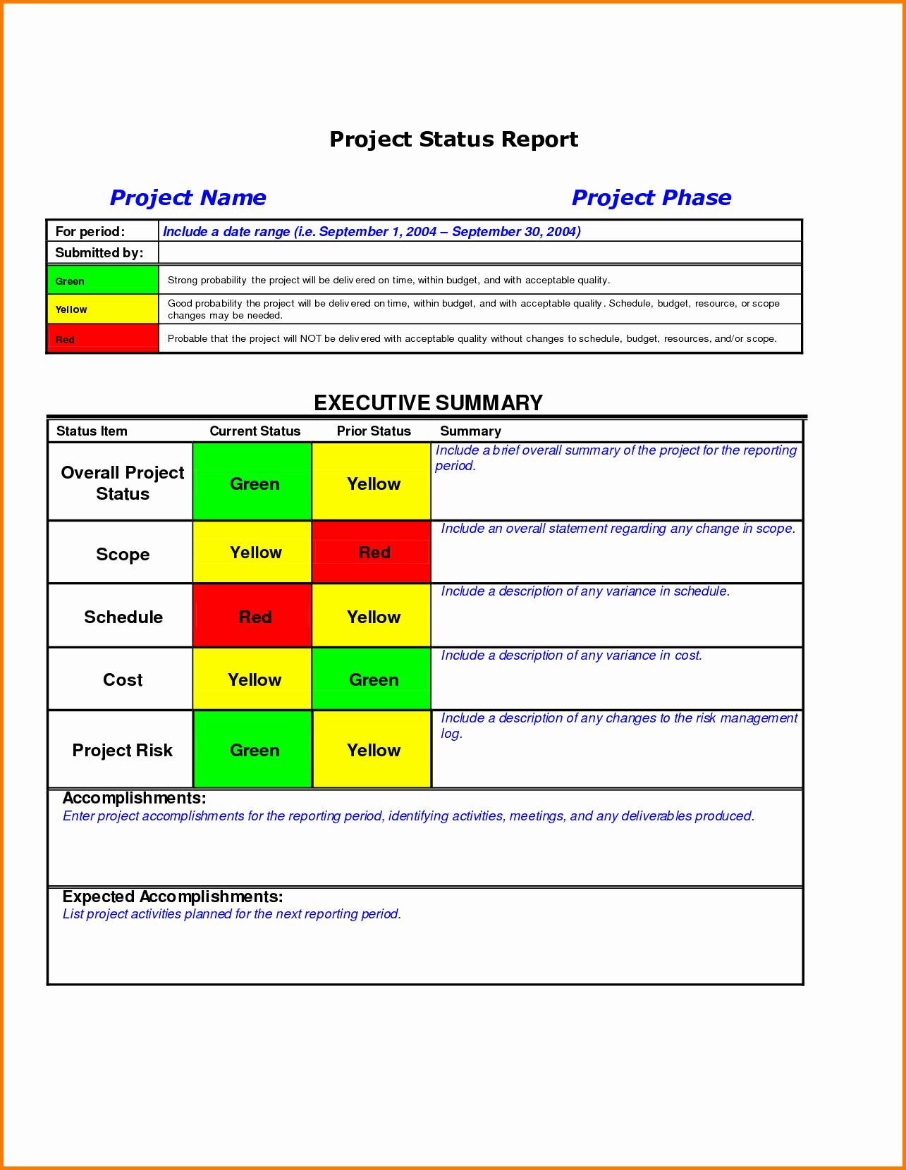 Monthly Project Report Template Excel