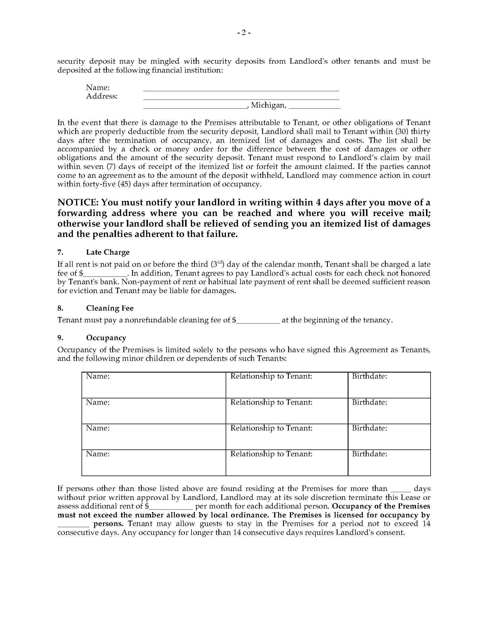 Monthly Rental Agreement Forms