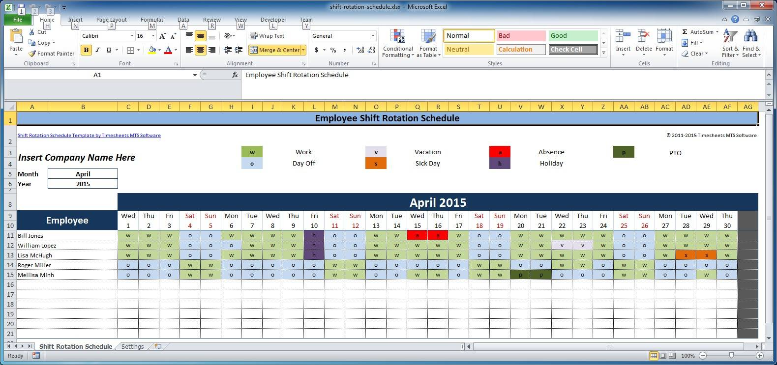 Monthly Rotating Shift Schedule Template