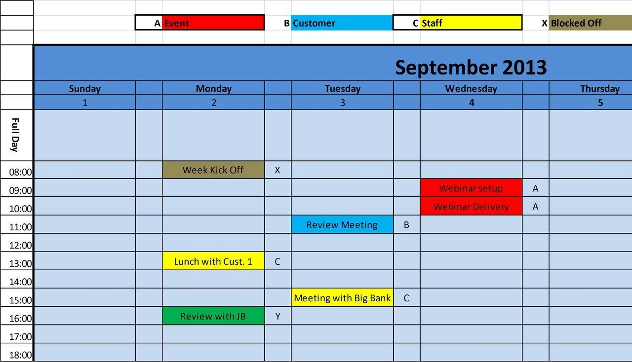 Monthly Schedule Planner Template Excel