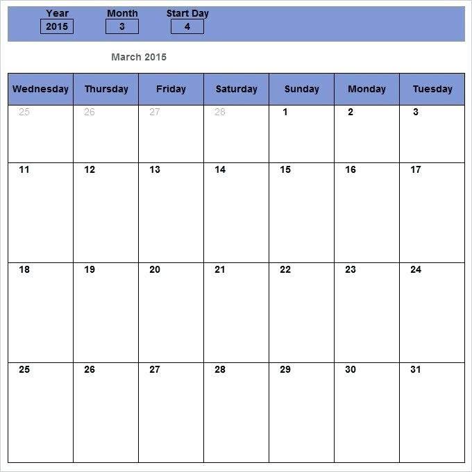 Monthly Schedule Template Excel 2013