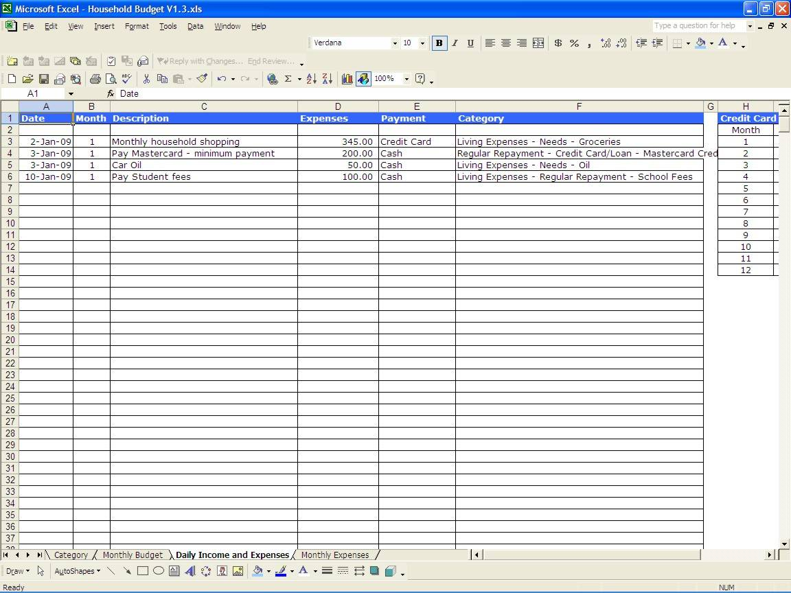 Monthly Spreadsheet Example