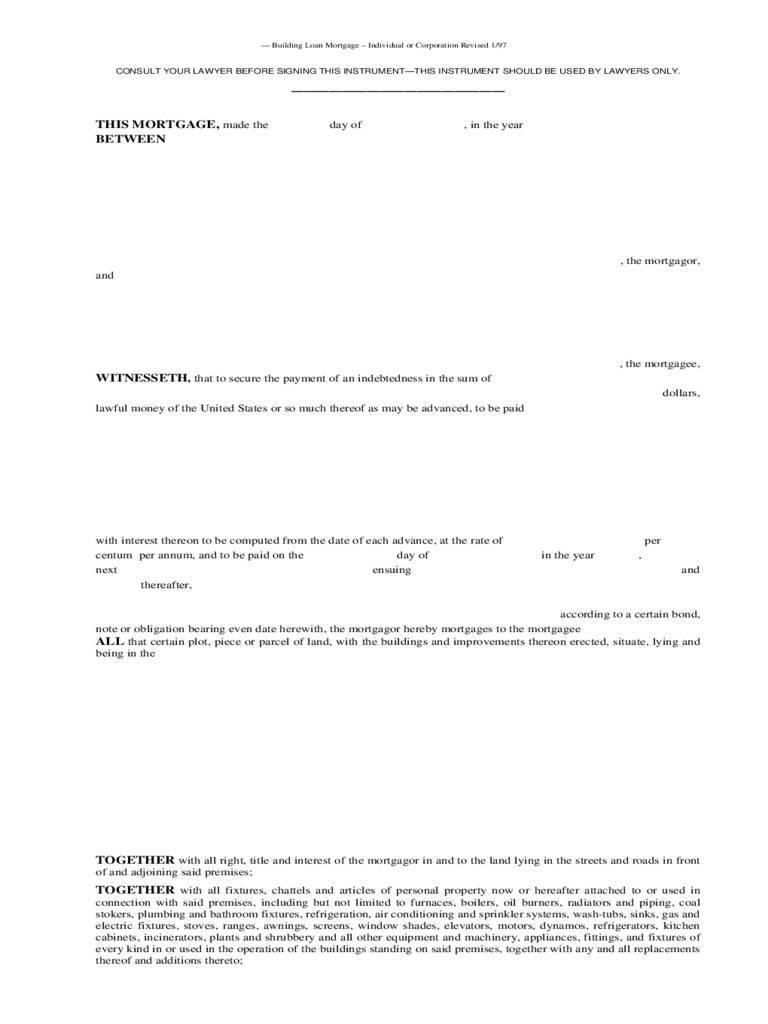 Mortgage Agreement Form Pdf