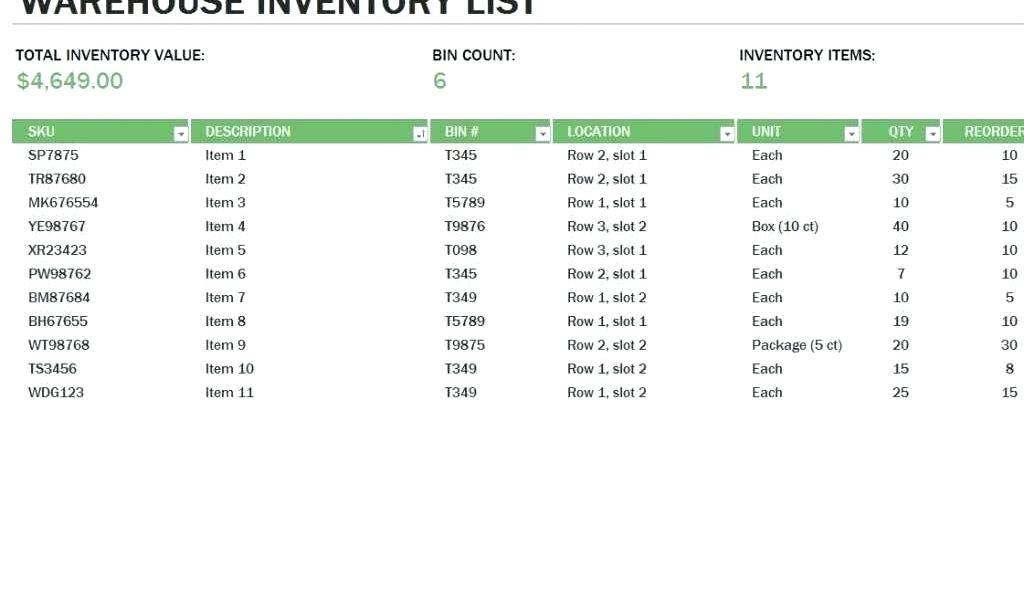 Ms Excel Inventory Database Template