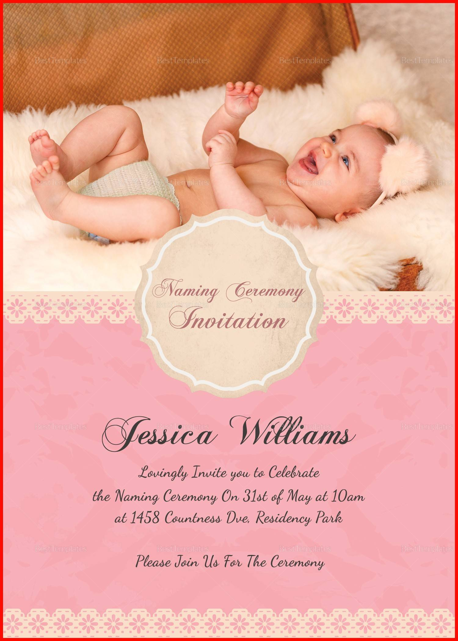 Naming Ceremony Invitation Cards