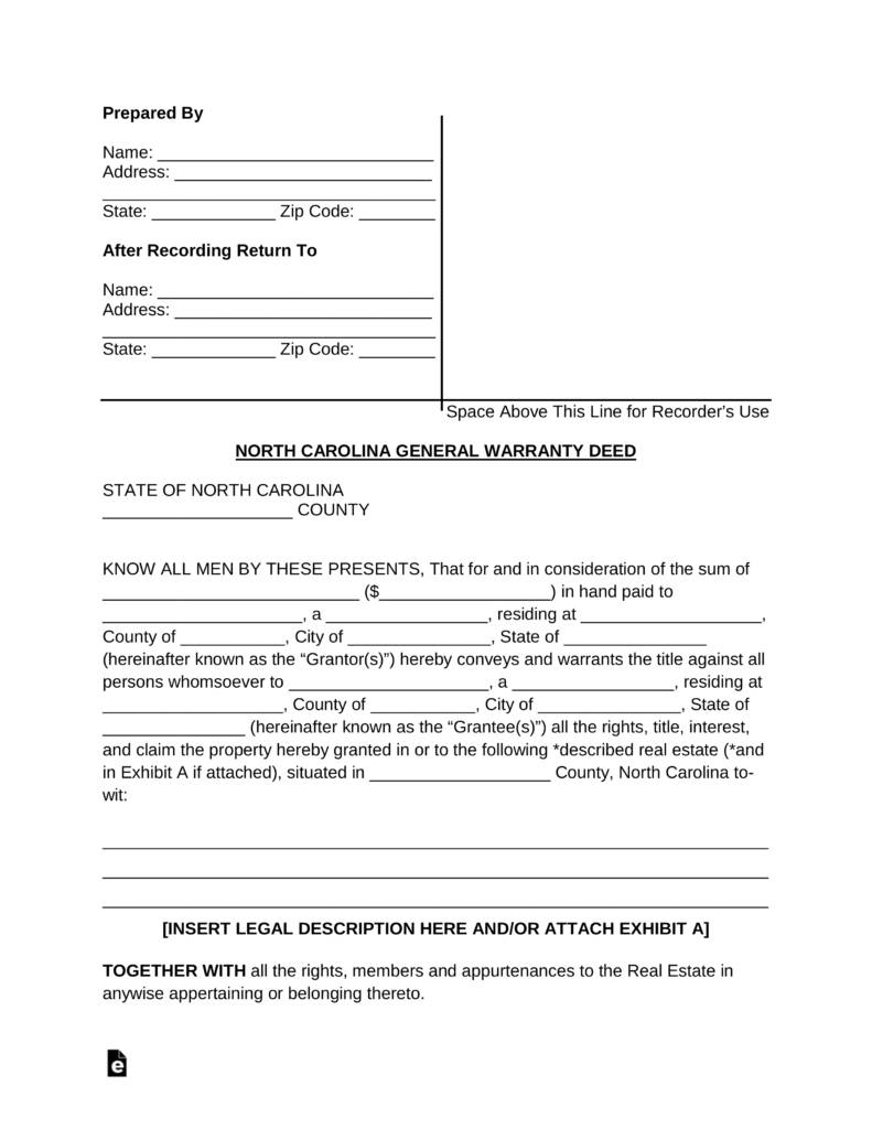 Nc Deed Of Trust Template