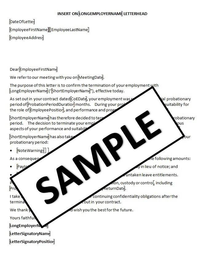 New Employee Probation Letter Template