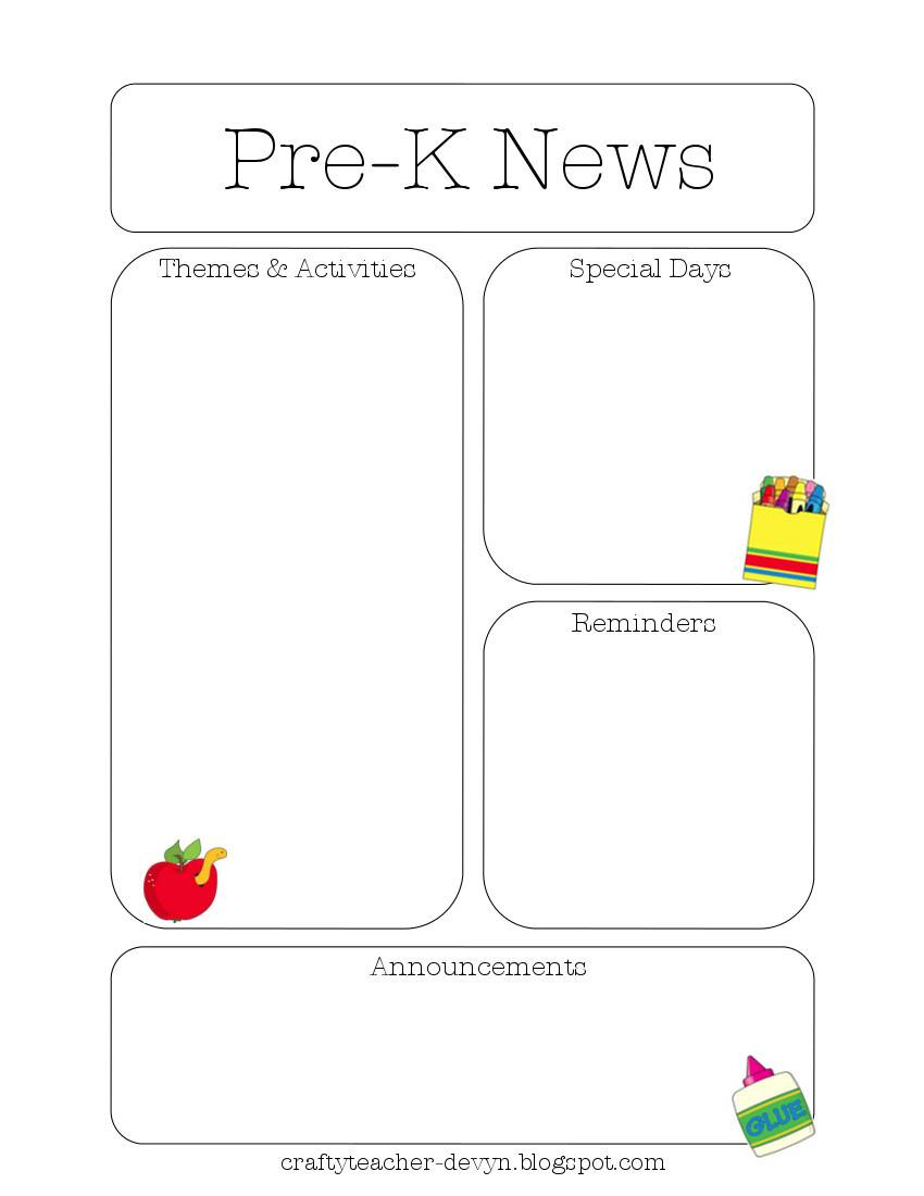 Newsletter Templates For Teachers Preschool