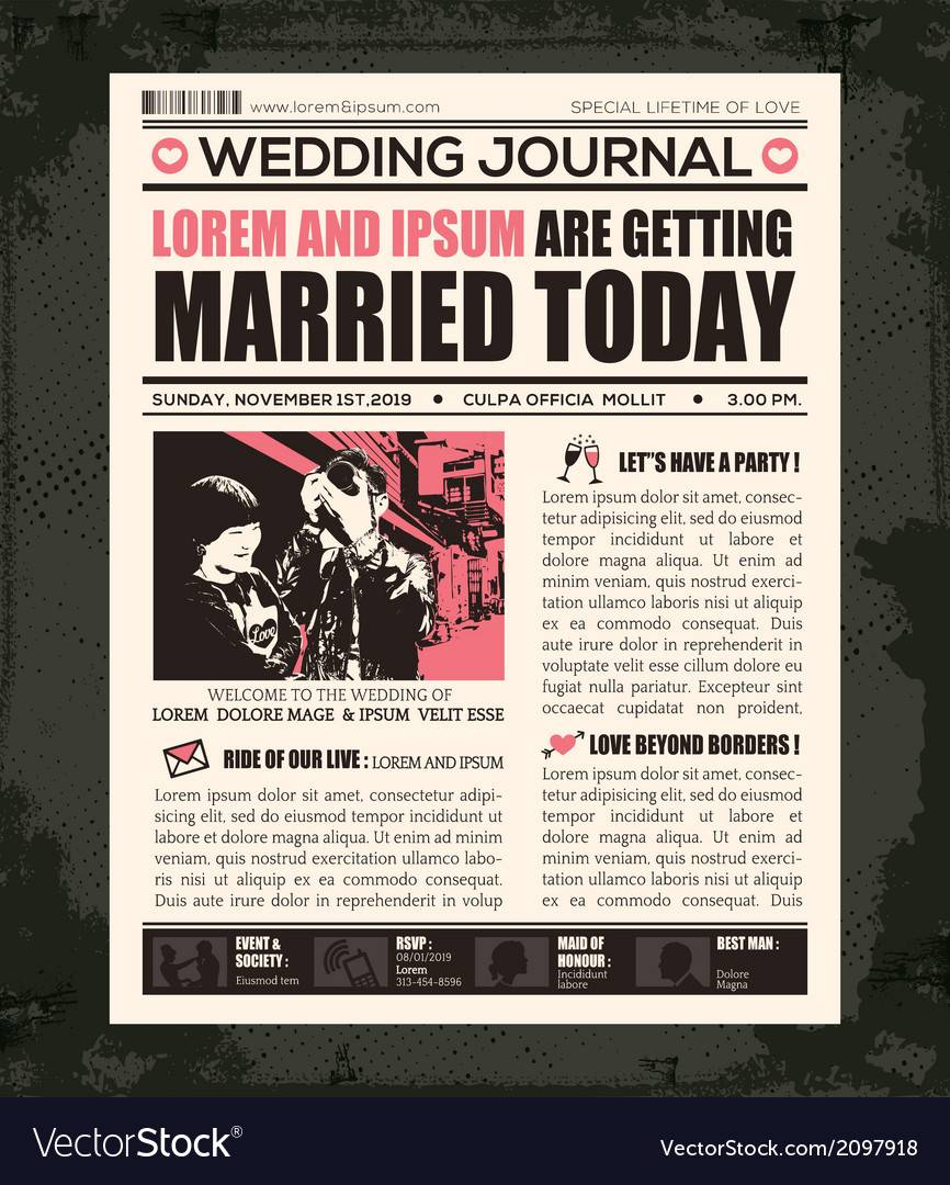 Newspaper Wedding Invitation Template