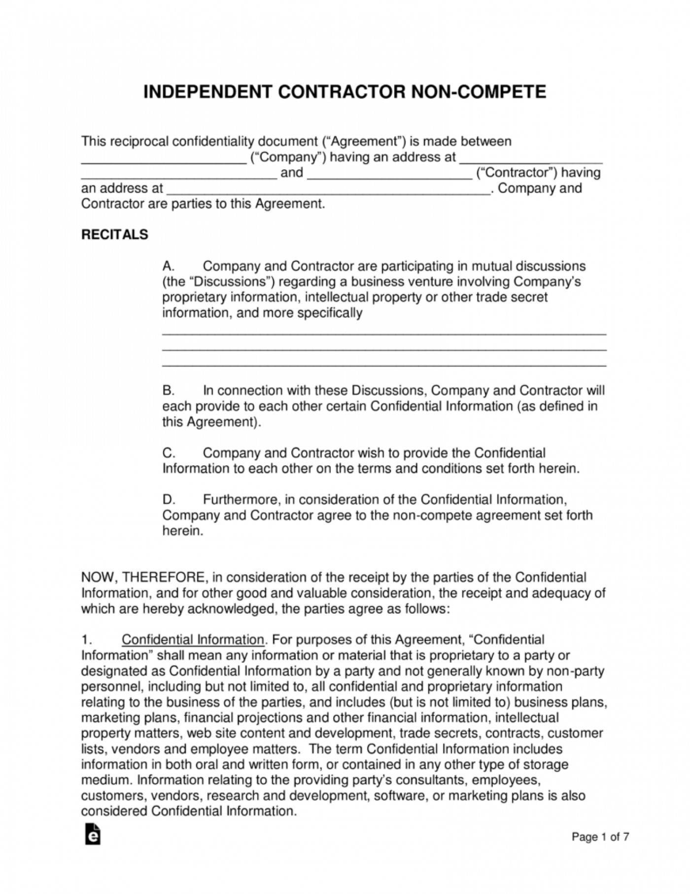 Non Compete Clause Agreement