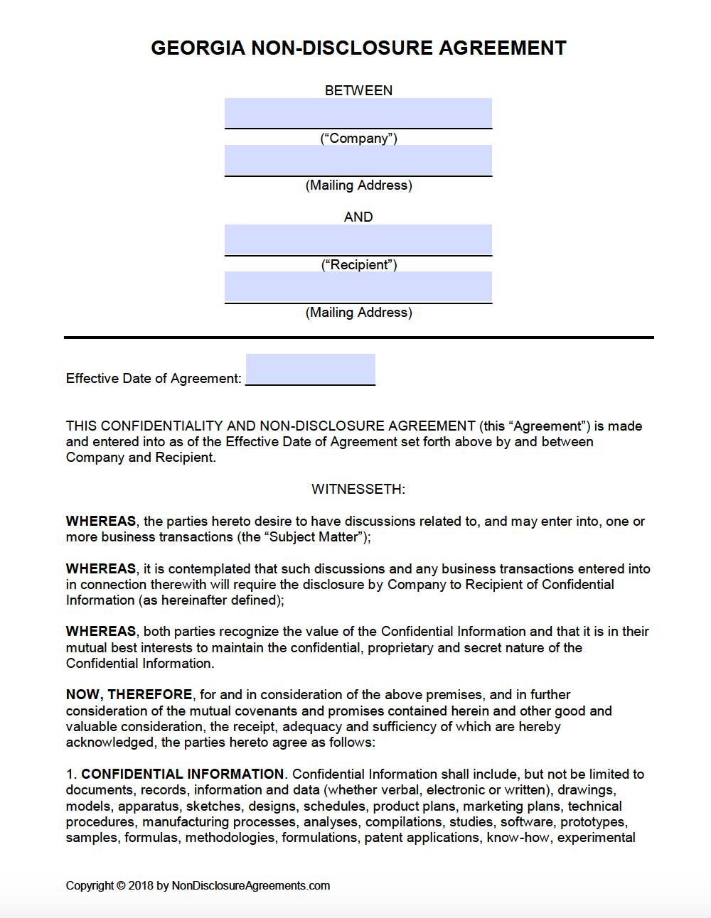 Non Disclosure Agreement Free Template Word