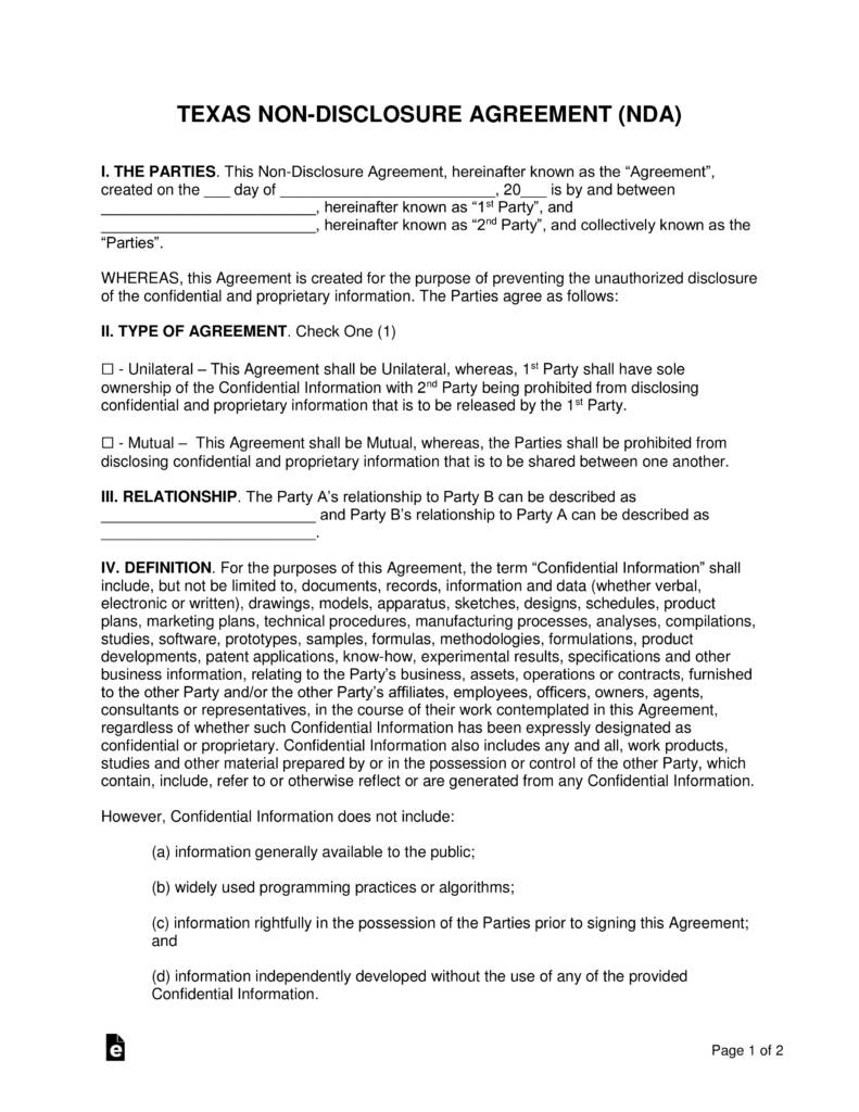 Non Disclosure Agreement Free Template