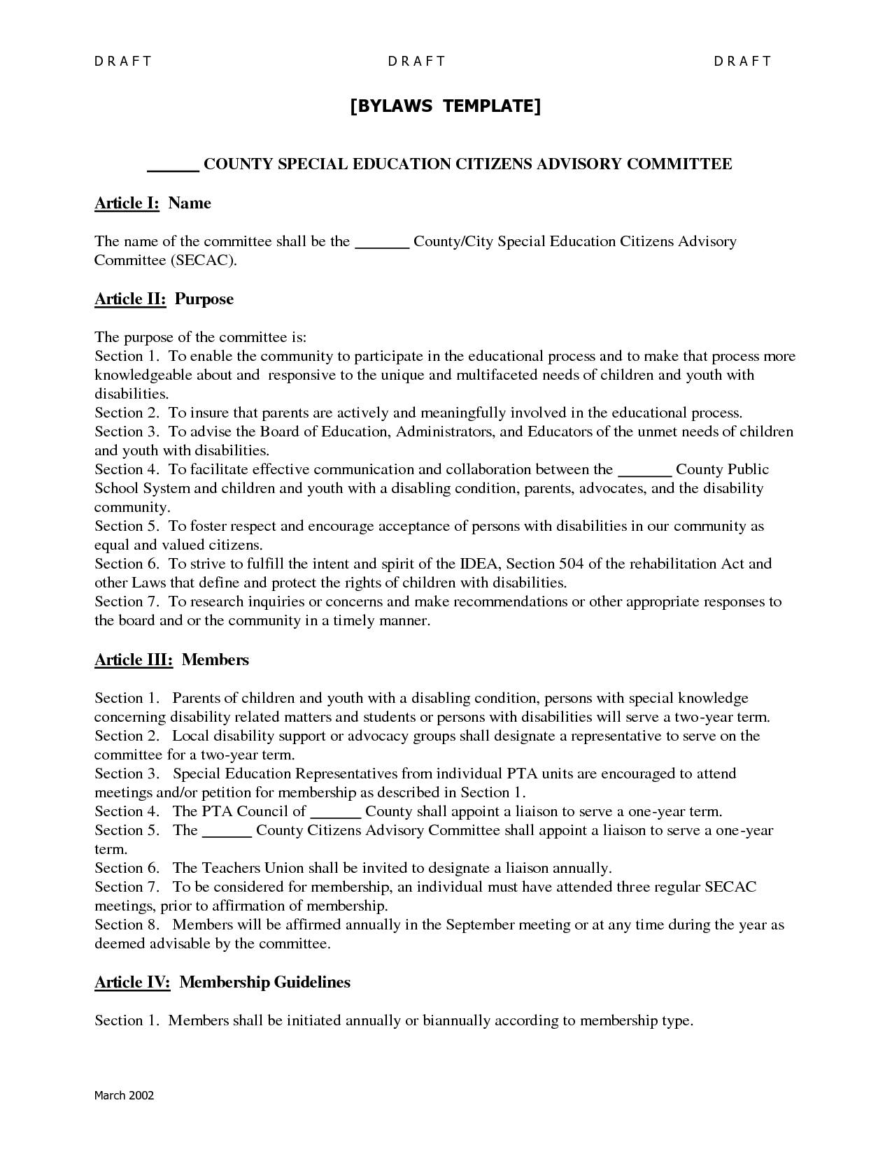 Non Profit Bylaw Template